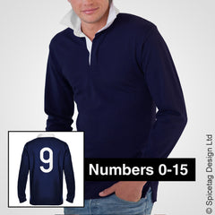 Retro Navy Blue Rugby Number Jersey