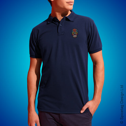 Navy Sugar Skull Polo Shirt