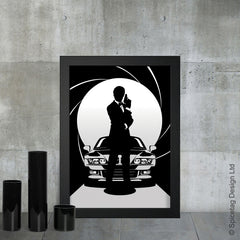 Pierce Brosnan james bond 007 movie film secret agent spy car cars bmw z3 goldeneye art artwork picture spicetag