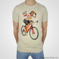 Cycling Pin-Up Girl Red Polka Dot Jersey T-shirt