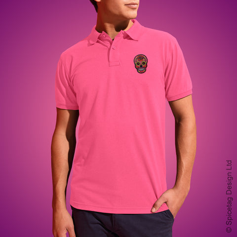 Pink Sugar Skull Polo Shirt