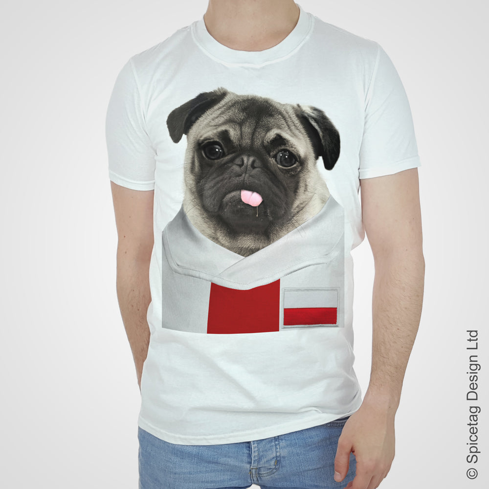 Poland Football Pug T-shirt