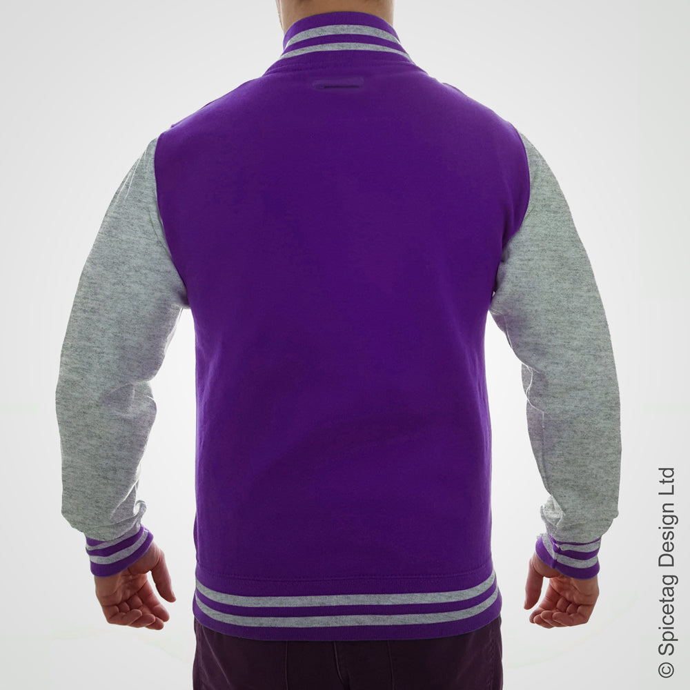 Purple & Heather Grey Varsity Jacket