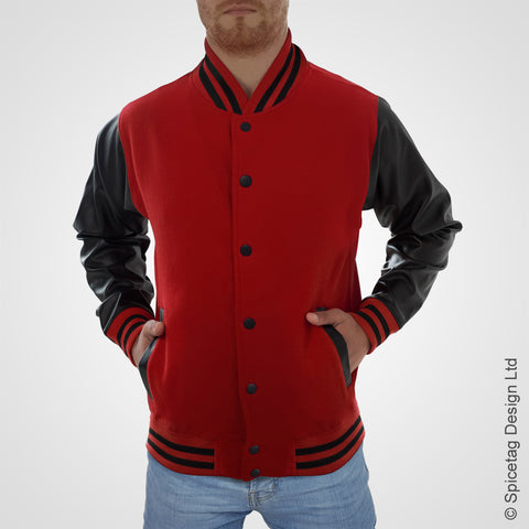 Red Varsity Jacket Faux Leather Sleeves College Top USA Letterman Coat Baseball Clothing Spicetag
