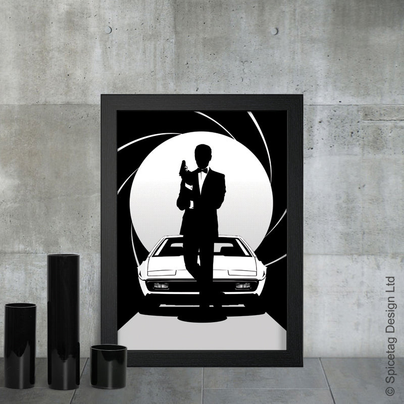 Roger Moore james bond 007 movie film secret agent spy car cars aston martin lotus esprit live and let die view to a kill art artwork picture spicetag