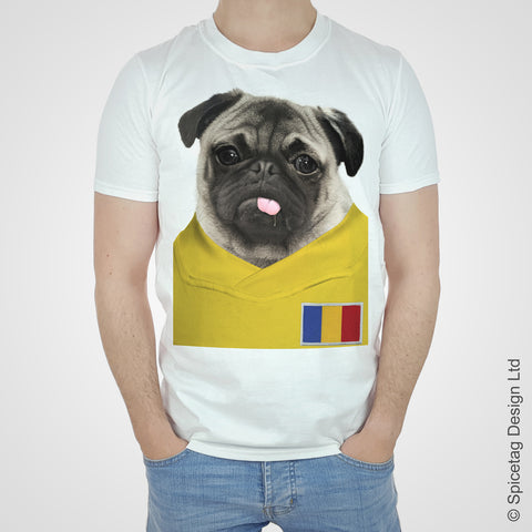 Romania Football Pug T-shirt