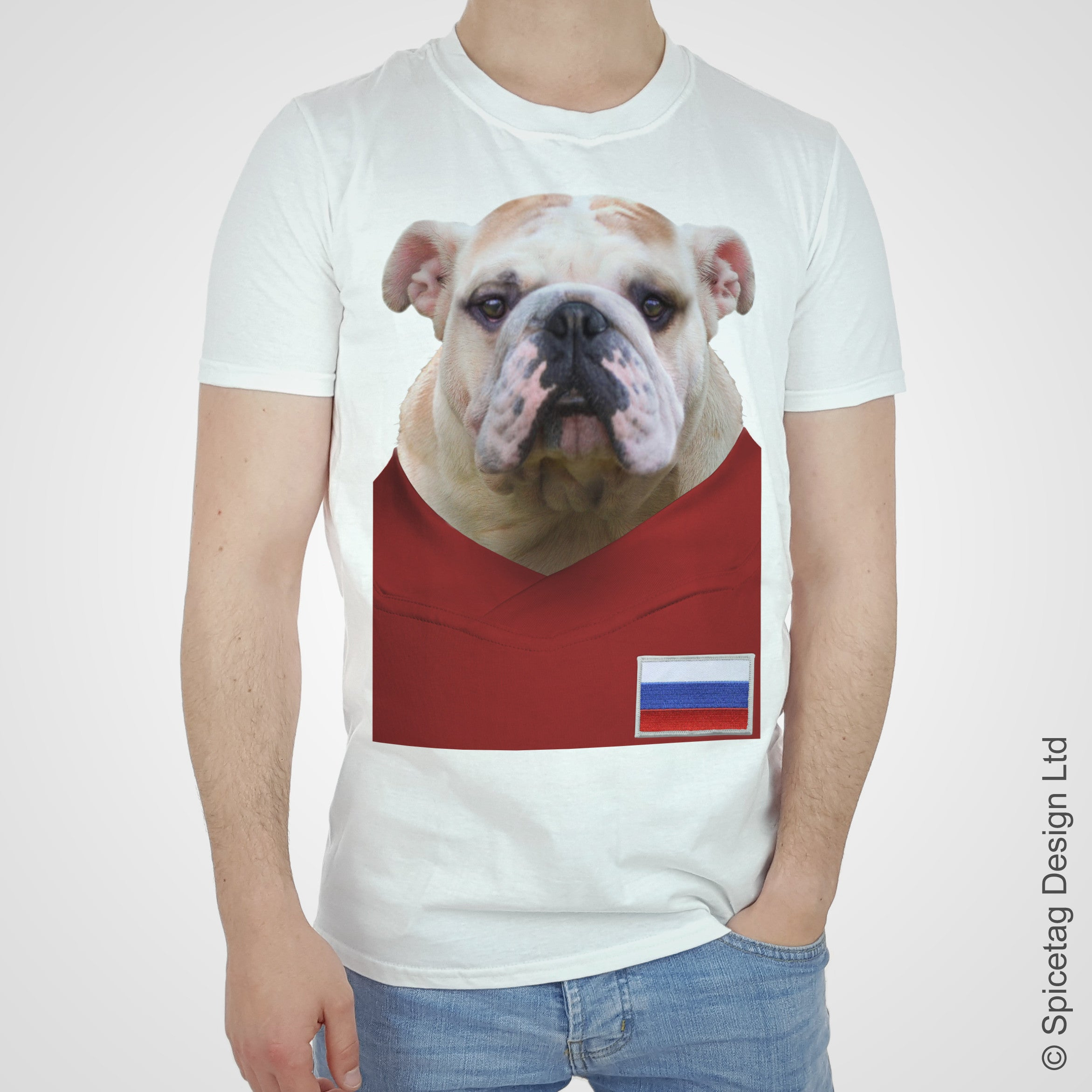 Russia Football Bulldog T-shirt