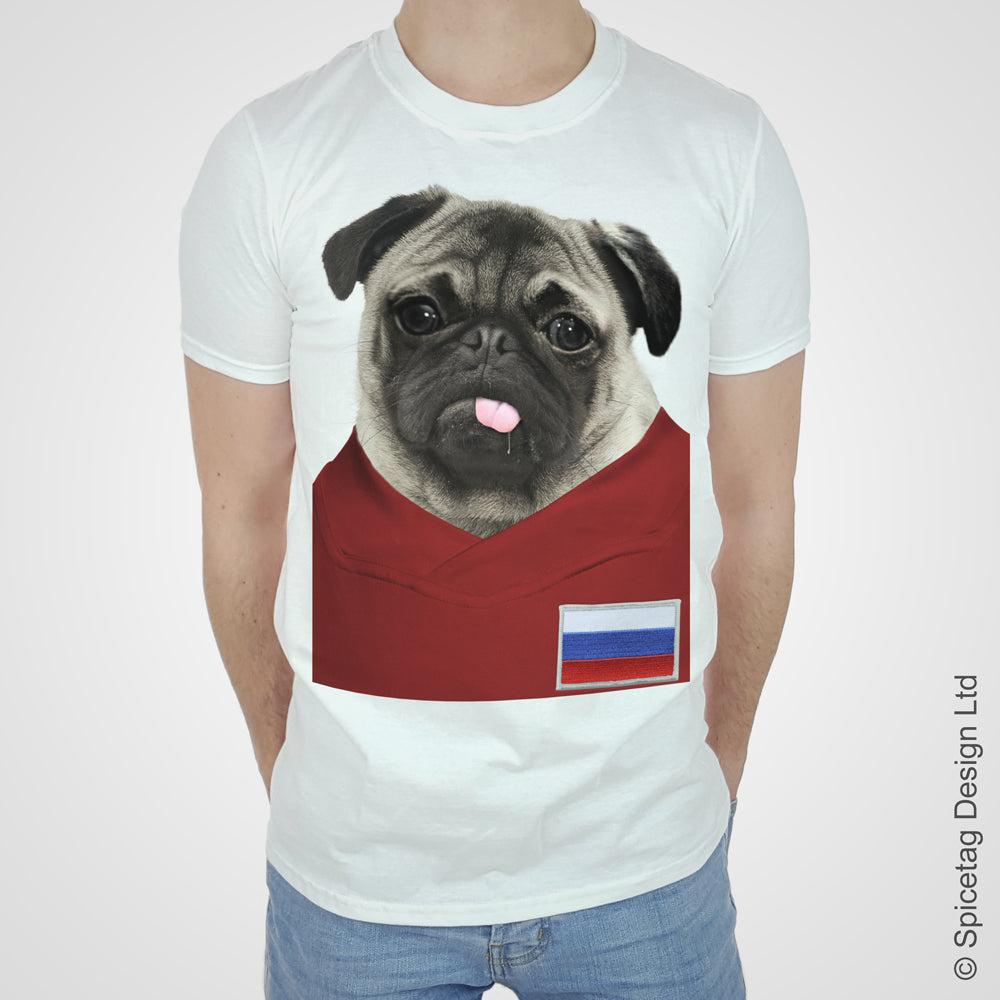 Russia Football Pug T-shirt