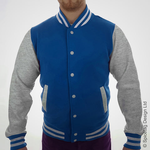Sapphire Blue & Heather Grey Varsity Jacket
