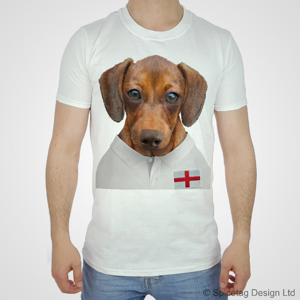 Rugby Shirt For Dog: England Rugby Sausage Dog T-shirt