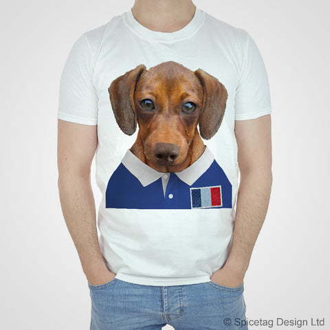 France Rugby Sausage Dog T-shirt