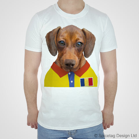 Romania Rugby Sausage Dog T-shirt