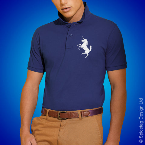Scotland Unicorn Polo Shirt Blue Football Tshirt Soccer Rugby Top Scottish Spicetag