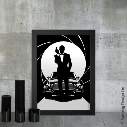 Sean Connery james bond 007 movie film secret agent spy car cars aston martin db5 dr no goldfinger thunderball art artwork picture spicetag