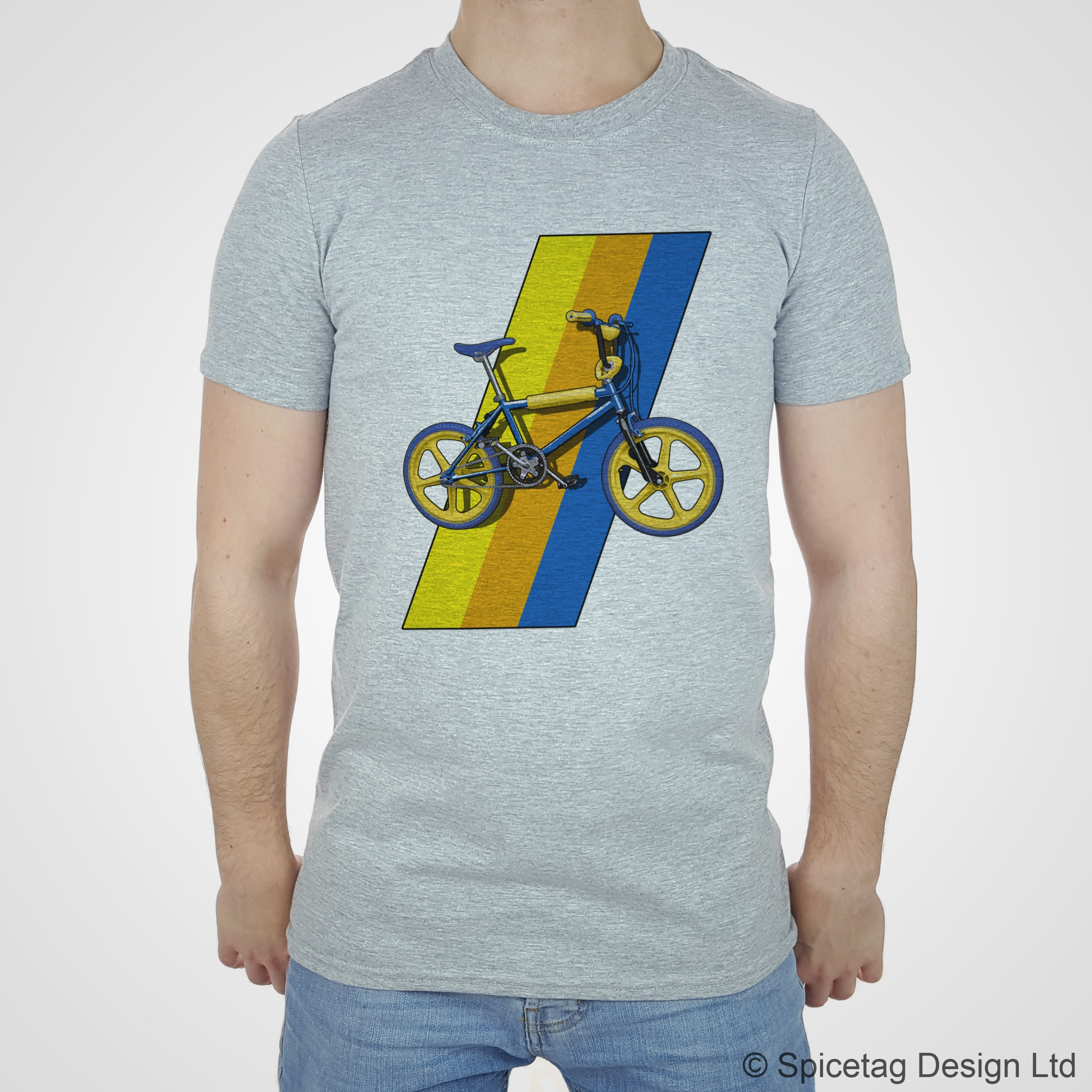 Spiectag mag BMX raleigh burner grifter 80s 1980s retro bike bicycle cycle cycling dirt cross T-shirt Tshirt T shirt Tee fashion style heather white
