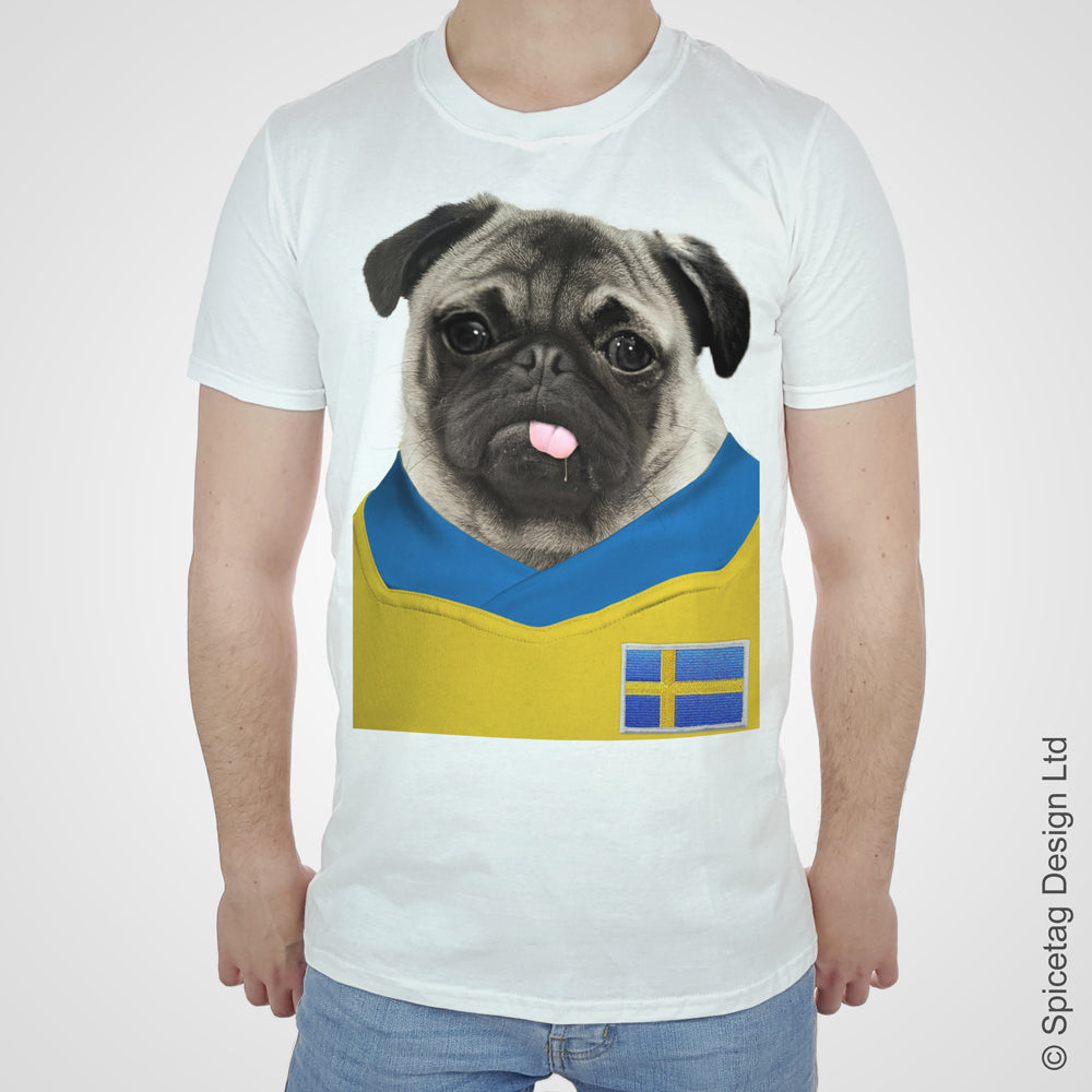Sweden Football Pug T-shirt