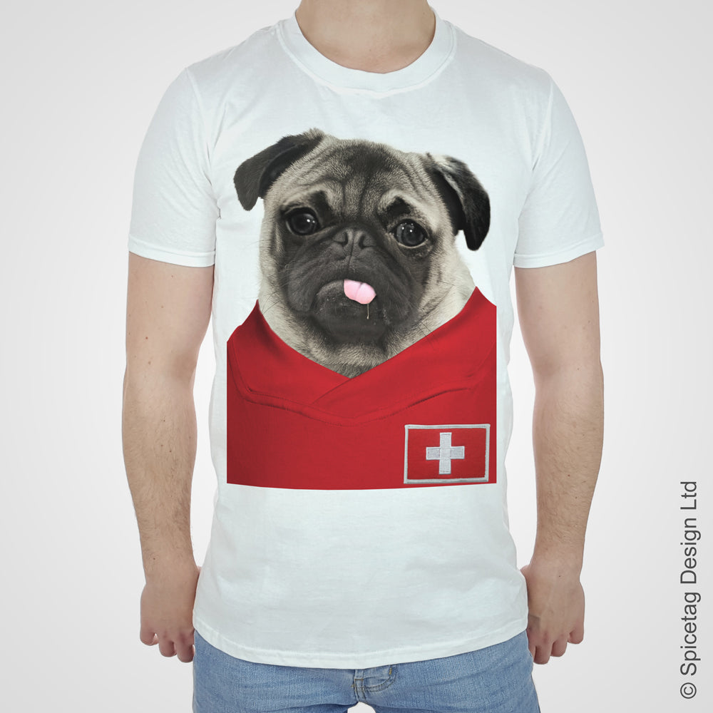 Switzerland Football Pug T-shirt