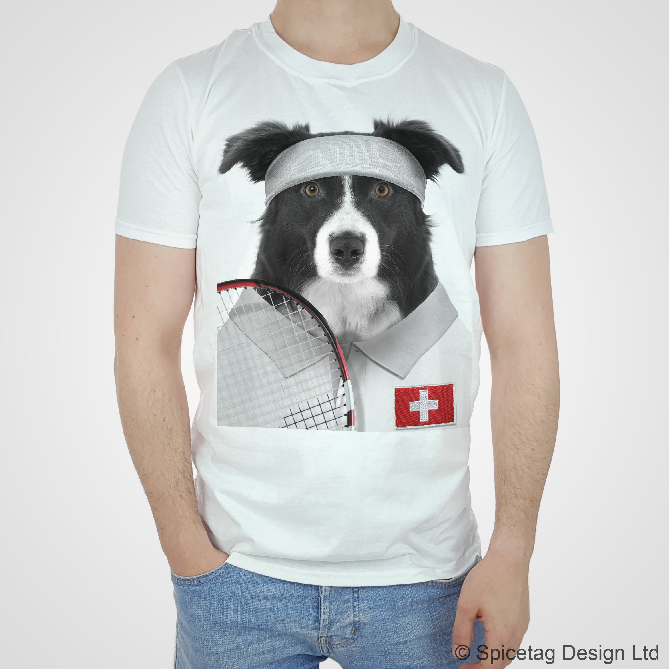 Switzerland Tennis Collie T-shirt