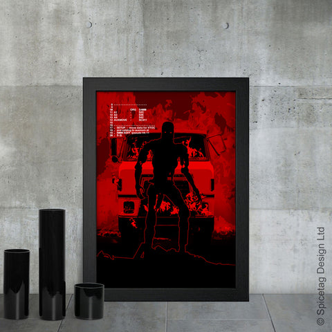 Terminator robot cyborg future sci fi arnold schwarzenegger fire scene endoskeleton 1980s 1984 film movie poster art print frame picture photo
