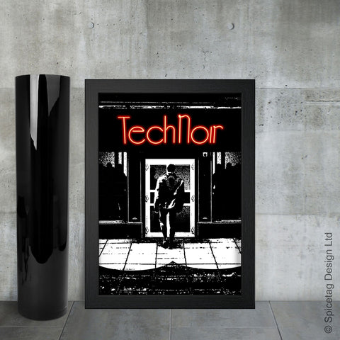 Terminator tech noir nightclub robot cyborg future sci fi arnold schwarzenegger endoskeleton 1980s 1984 film movie poster art print frame picture photo spicetag