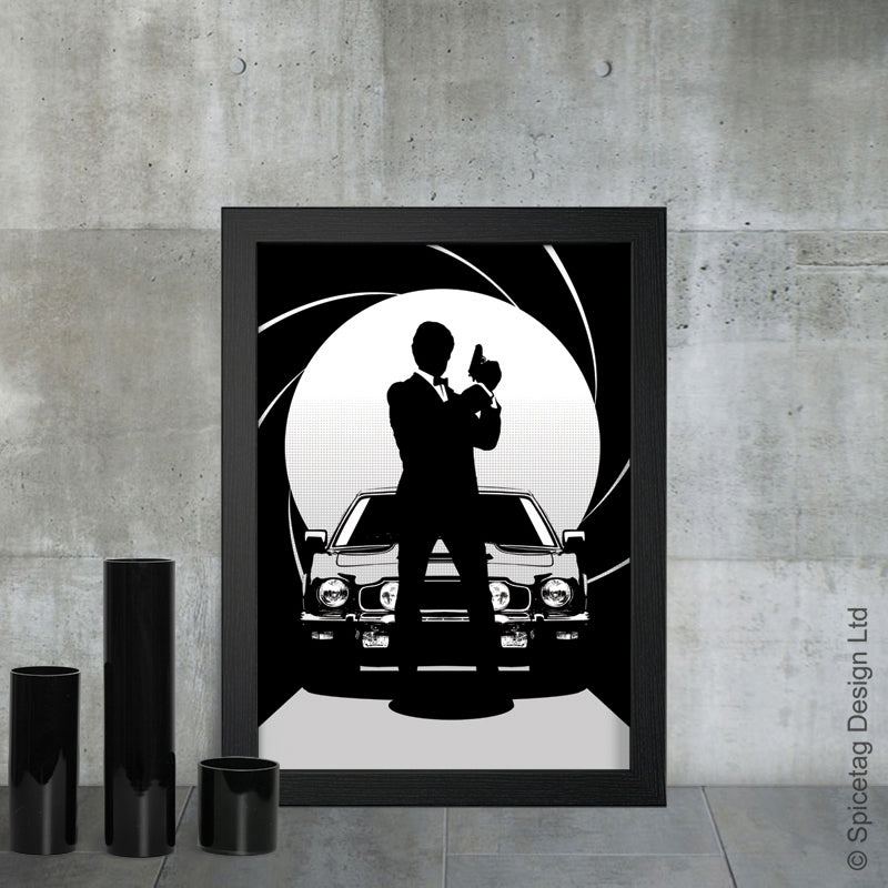 Timothy Dalton james bond 007 movie film secret agent spy car cars aston martin v8 vantage the living daylights license to kill art artwork picture spicetag