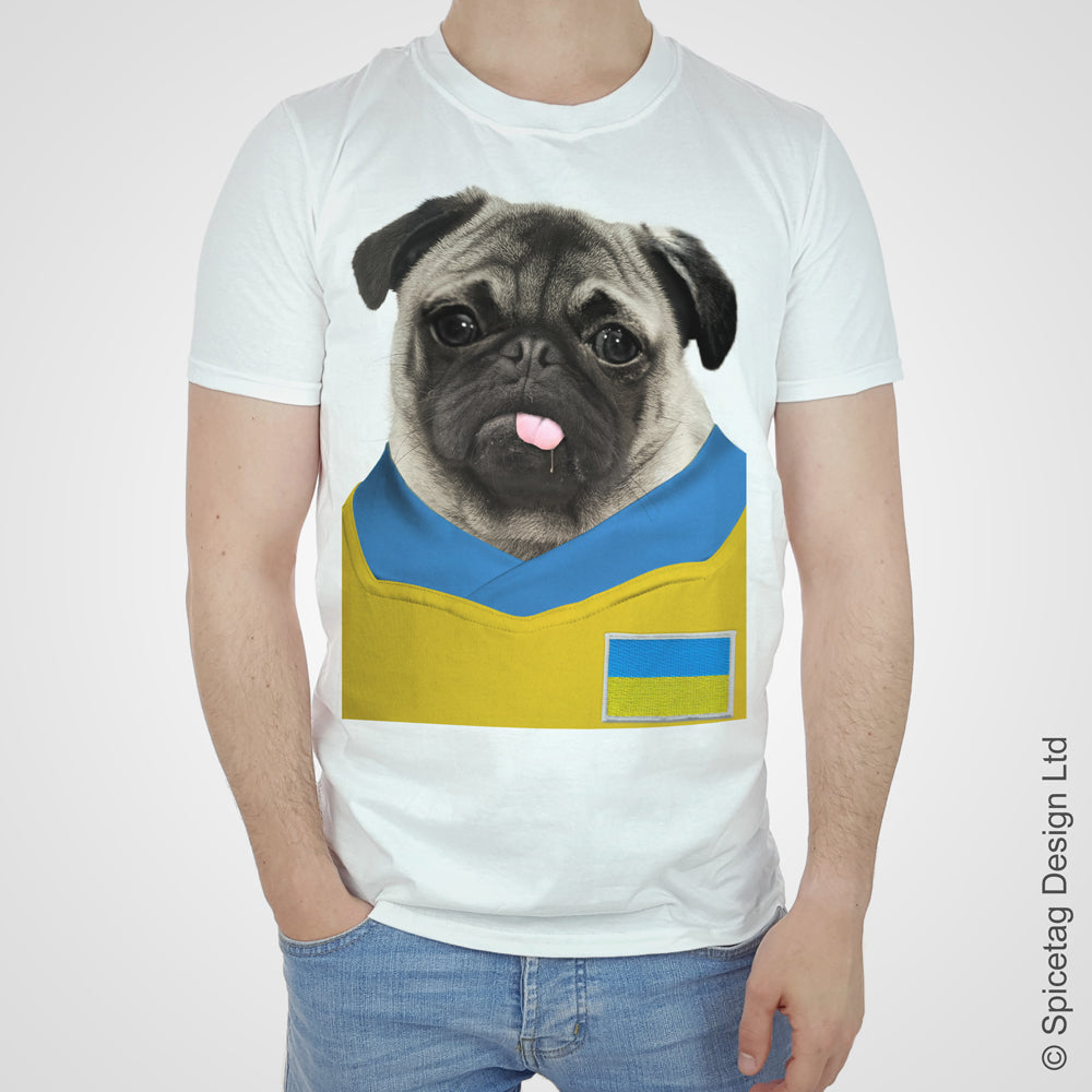 Ukraine Football Pug T-shirt