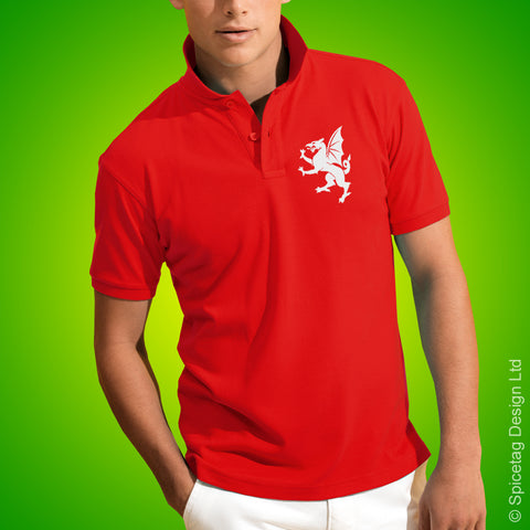 Wales Dragon Polo Shirt Red Football Tshirt Flag Soccer Rugby Top Welsh
