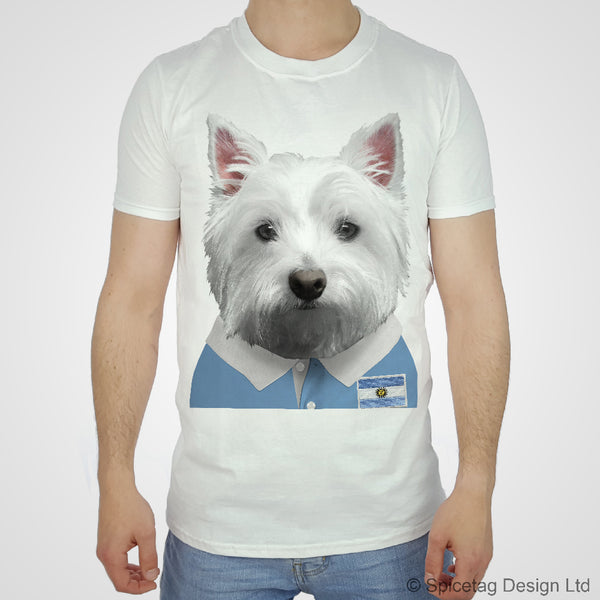 Rugby Shirt For Dog: Argentina Rugby Westie T-shirt
