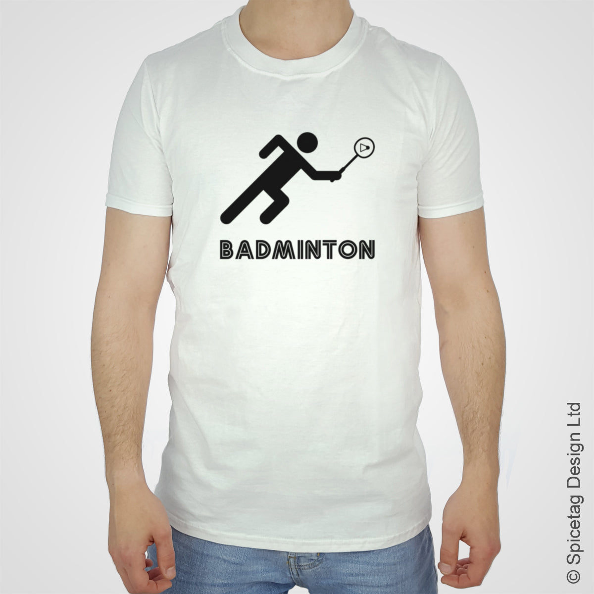 Badminton racket T-shirt Tshirt T shirt Tee clothing clothes fashion style sport sports fan olympics athletics track field health fitness world competition champion