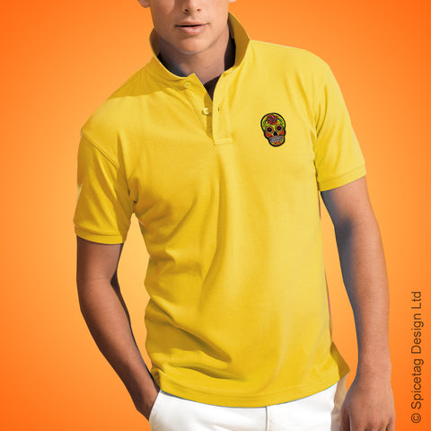 Yellow Sugar Skull Polo Shirt