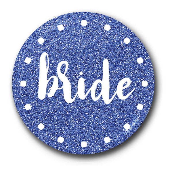 Bride Cobalt Sparkle Glitter Hen Night Badge