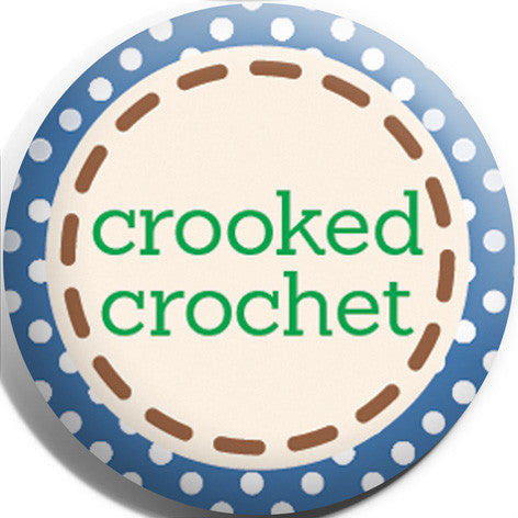 Crooked Crochet Button Badge and Magnet