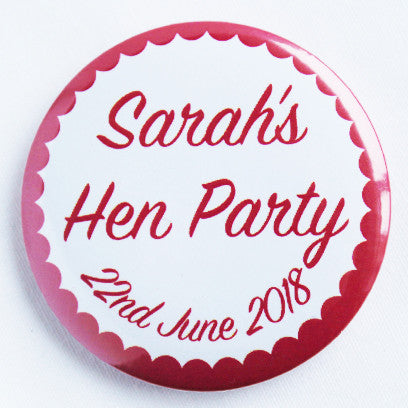 Customised Pink Scalloped Hen Do Badge Accessory