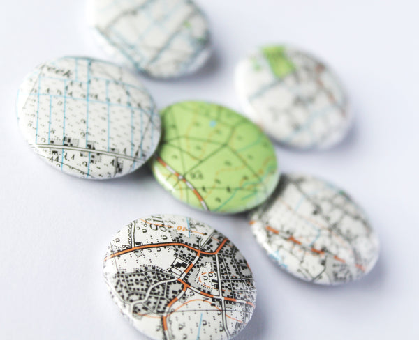 25mm/One inch Upcycled Recycled European Map Badges and Magnets