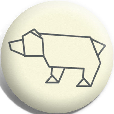 Origami Polar Bear Button Badge and Magnet