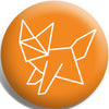 Origami Sunburst Fox Button Badge and Magnet