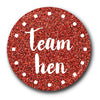 Team Hen Red Shimmer Glitter Badge Design
