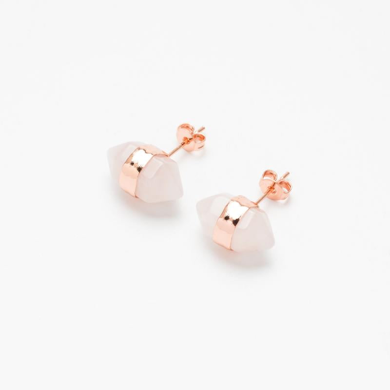Rose Quartz Gemstone Ear Stud