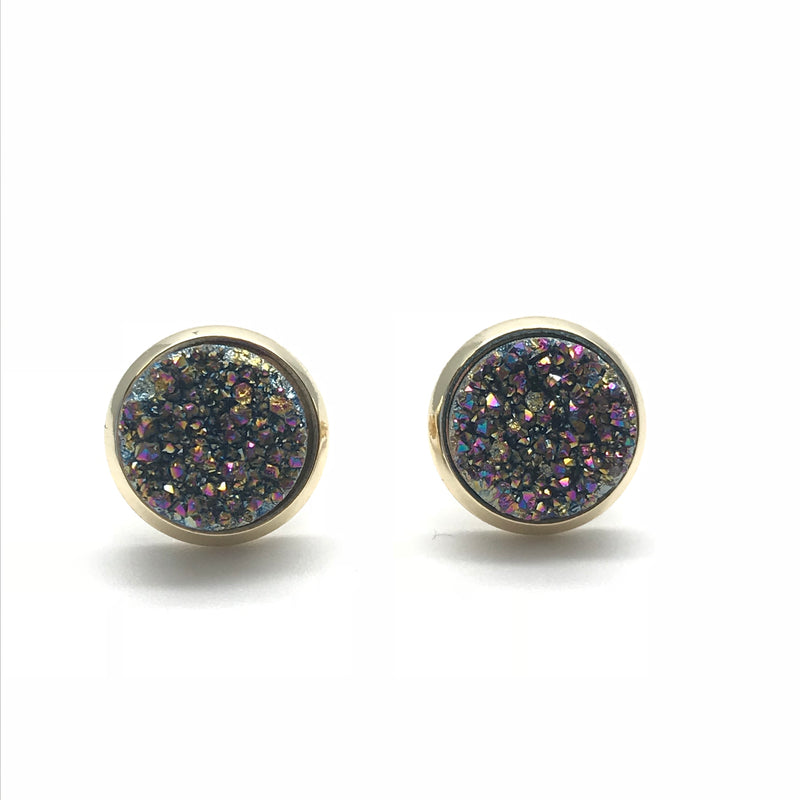 Druzy Quartz Ear Stud - Iridescent