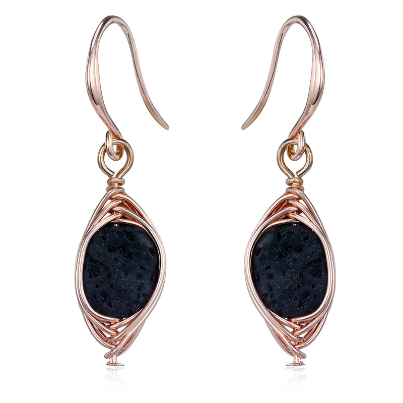 """Kate"" Rose Gold Wrapped Lava Stone Earring"