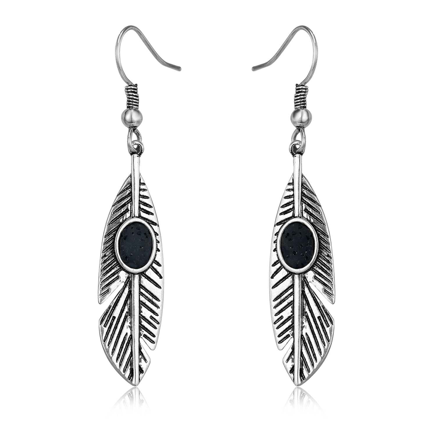 """Feya"" Silver Feather Lava Stone Earring"