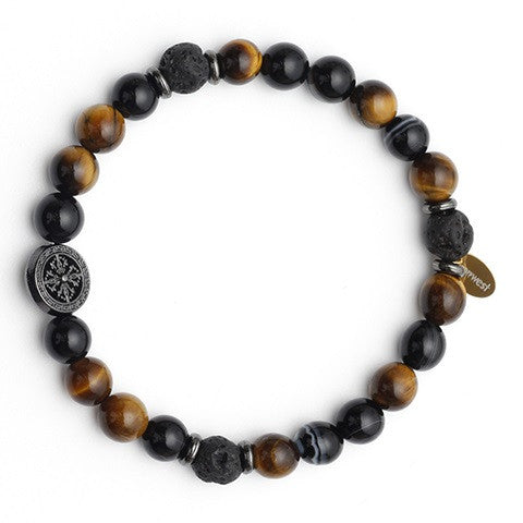 Men's Tiger's Eye Lava Bead Aroma Bracelet