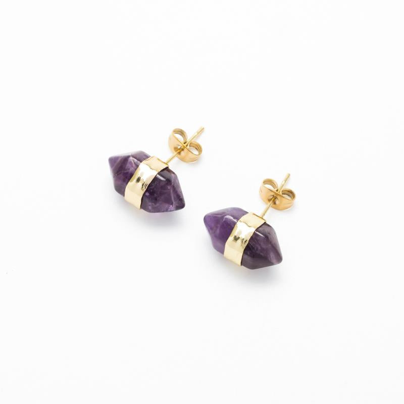 Amethyst Gemstone Ear Stud
