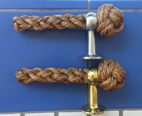 TOILET ROLL HOLDER handmade manila rope Brass or polished steel finish