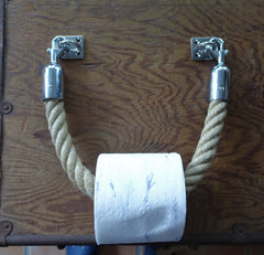 TOILET ROLL HOLDER handmade polyester rope stainless steel fittings