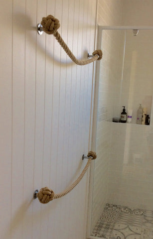 TOWEL RACK handmade nautical decor with a sandy colour for bathroom or kitchen
