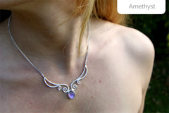amethyst elf necklace
