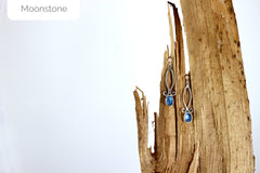 silver moonstone spiral earrings