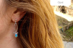 hanging opal earrings