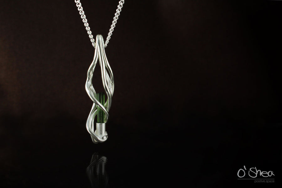 Green Tourmaline Crystal Pendant - www.joshoshea.com | Handmade Jewellery Gold and Silver